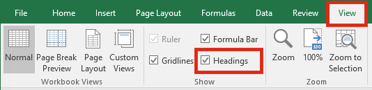 Excel Settings - View Headers