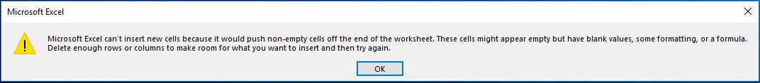 Reset scroll bars - Error message