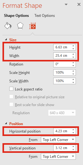 PowerPoint measures in Cms