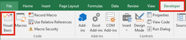 Developer Visual Basic Editor