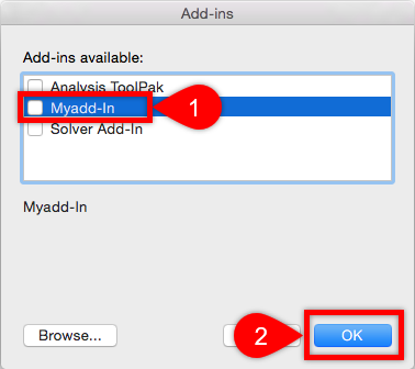 Deactivate Add-in Mac