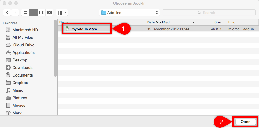 Install Add-in Mac Find File