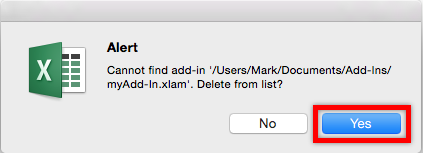 Uninstall Add-in Mac