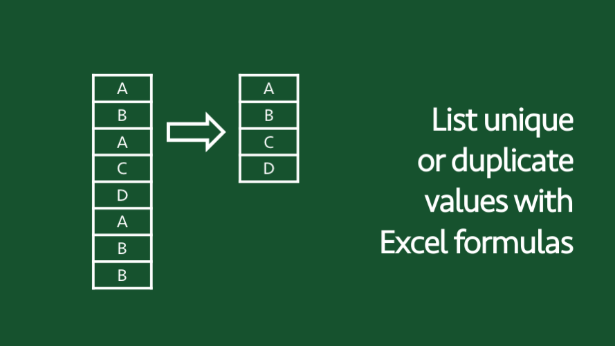 List unique or duplicate values with Excel formulas