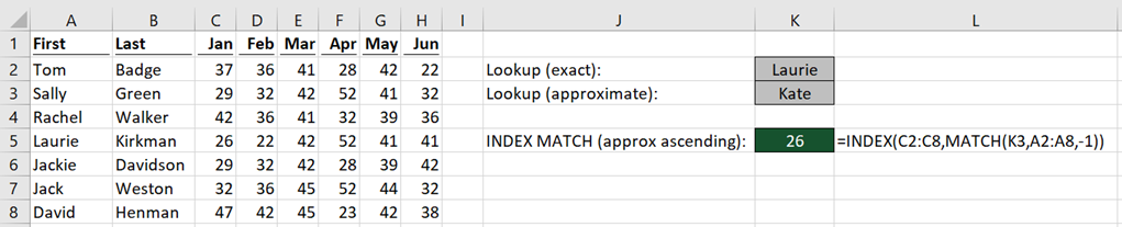 INDEX MATCH types of search 2