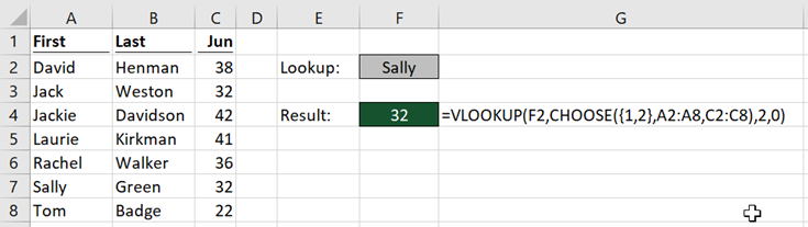 VLOOKUP CHOOSE after delete column