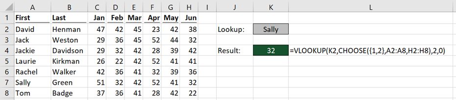 VLOOKUP CHOOSE before delete column