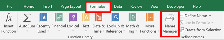 Formulas - Name Manager