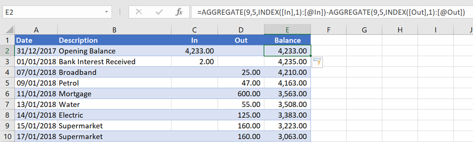 Running Total AGGREGATE