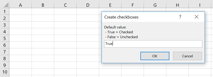 Create Checkboxes - Default Value