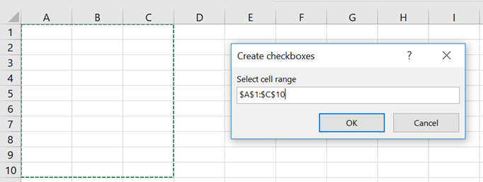 Create Checkboxes - Select Range