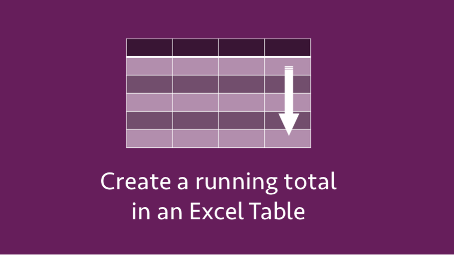 Create a running total in an Excel Table