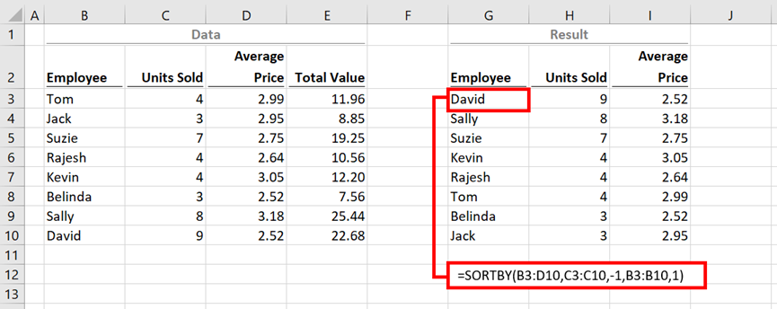 SORTBY function in Excel - Excel off the grid