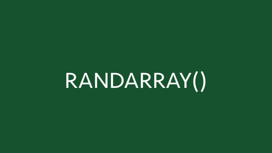 RANDARRAY function in Excel