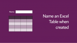 Name Table when created