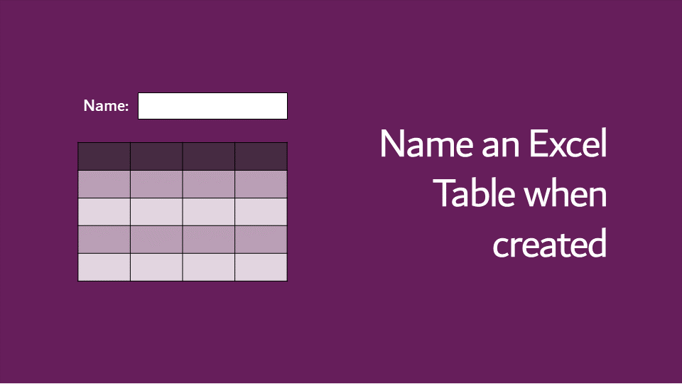 Name an Excel Table when created