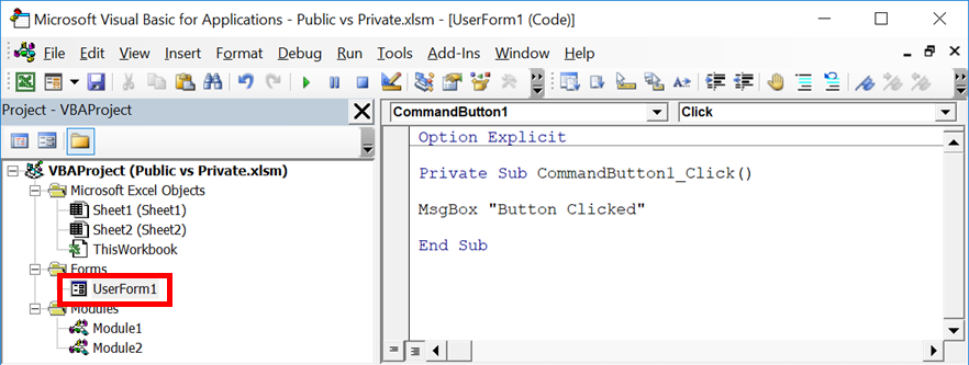Private vs Public Subs, Variables & Functions in VBA - Excel