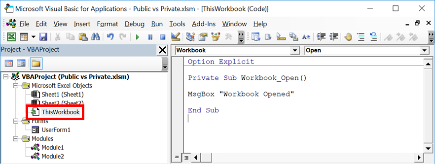 Private vs Public Subs, Variables & Functions in VBA - Excel off the