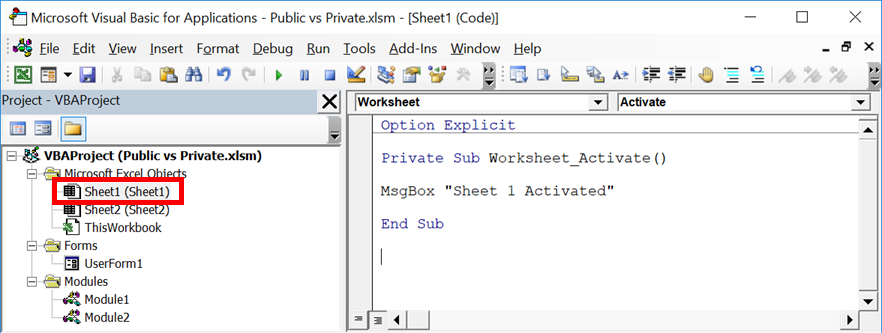 Private vs Public Subs, Variables & Functions in VBA - Excel off the ...