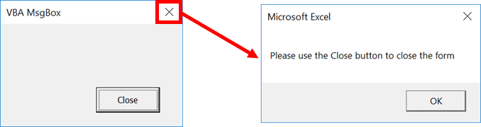 Hide or disable a VBA UserForm [X] close button - Excel off