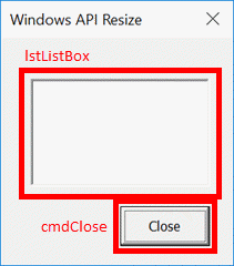 Windows API Resize