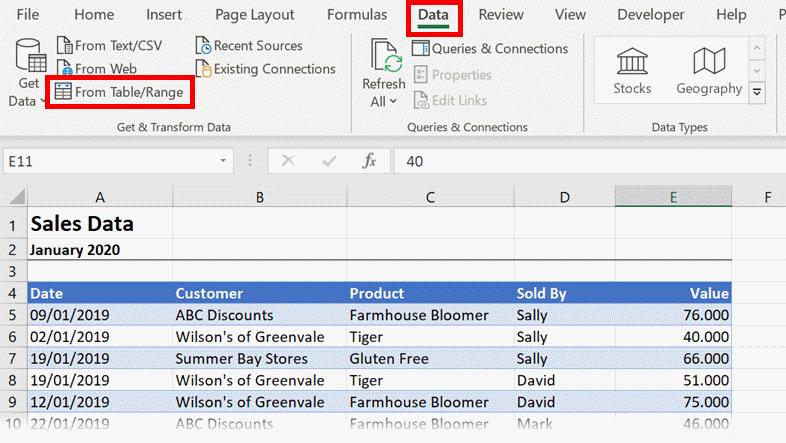 Data - Import Table Range