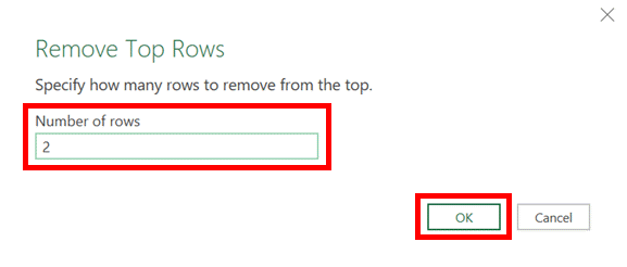 Remove top rows window