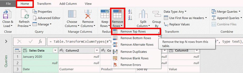 Remove top rows