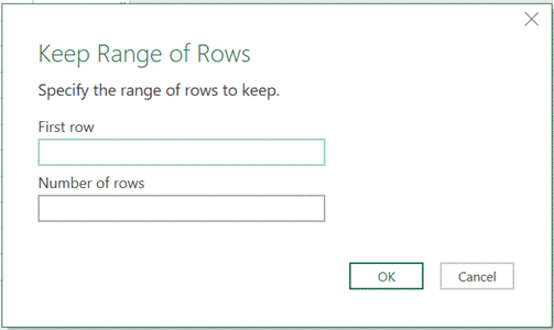 Keep Range of Rows window
