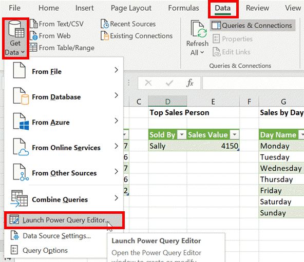 Launch Power Query Editor