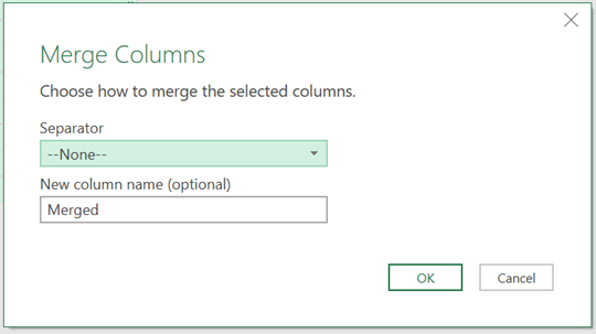 Merge Columns Window