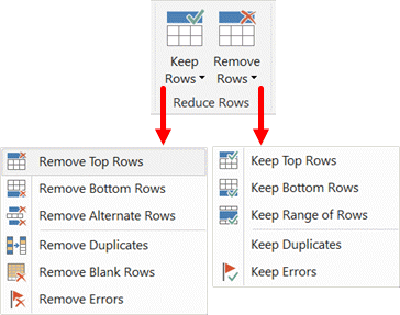 Reduce Rows Section