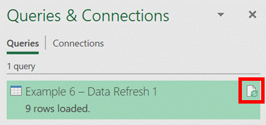 Refresh Query from Queries and Connection - Icon