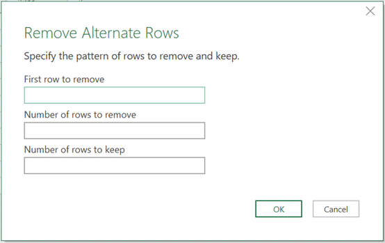 Remove Alternate Rows window