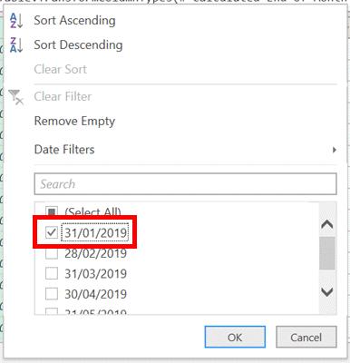 Select 31 January Date