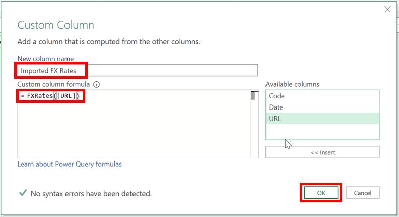 Add Custom Column Window