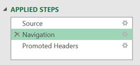 Applied steps - Navigation