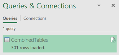 Combedin Tables after Refresh