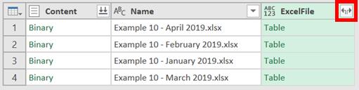 Expand Excel Column Options