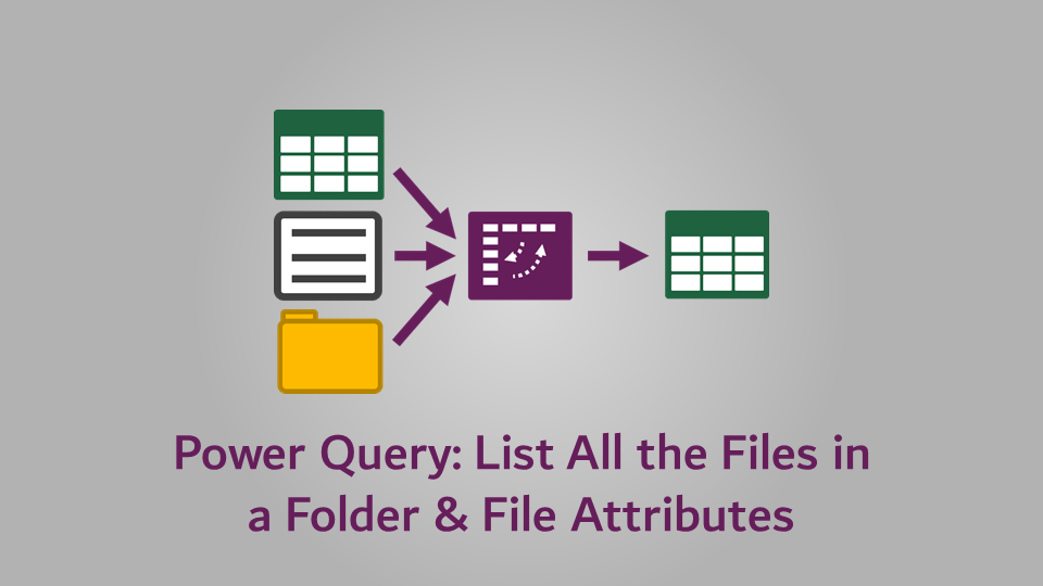 Power Query - List All the Files in a Folder & File Attributes