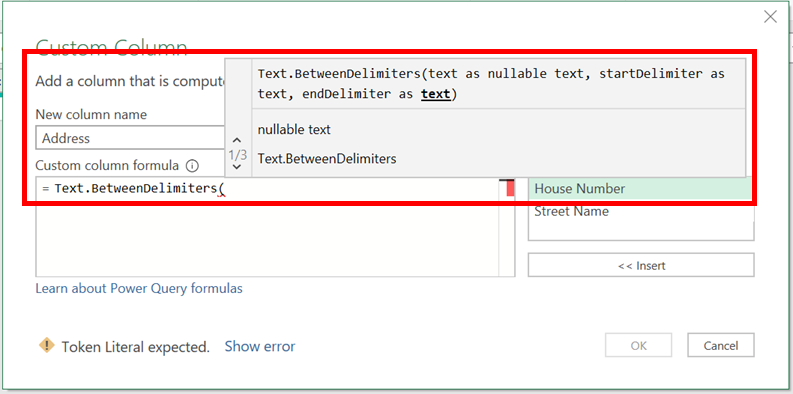 Power Query IntelliSense - Formula Arguments