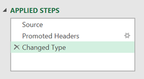 Applied Steps include promote header and change type