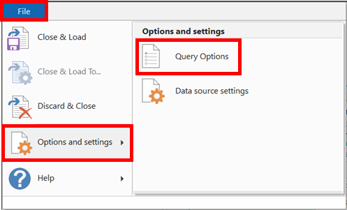 File - Option Settings - Query Options