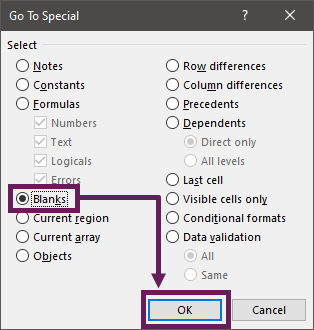 Go To Special Dialog - Blanks - OK