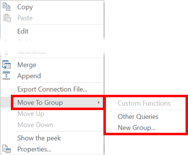 Queries & Connections Window - Create Groups