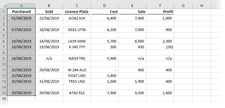 Select a column of cells including all empty rows