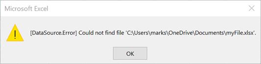 Source Data Error Message