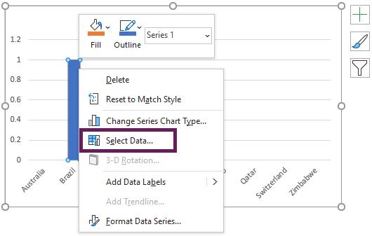Right-click - Select Data