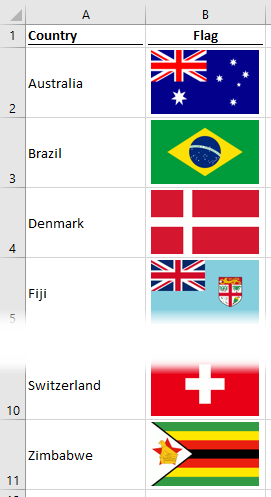 Start scenario - list with flags