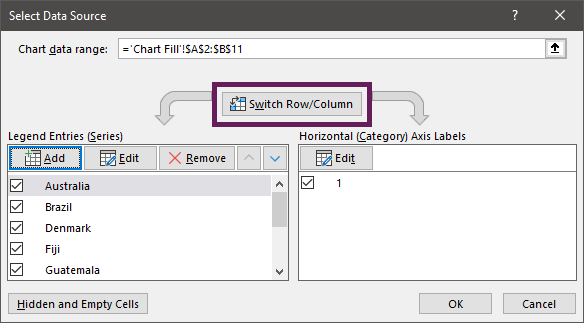 Switch row and columns in Select Data Source